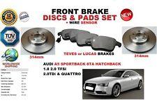 Für Audi A5 Sportback 8TA 09-17 Vorderbremse Scheibensatz+Beläge Set+Leiter