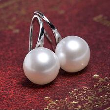 Classic Ear Studs White Round Pearl Drop Dangle Earrings Women Wedding/Bridal