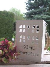 """Shabby Laterne """"HOME SWEET HOME"""" creme weiß Seilgriff Vintage Landhaus Windlicht"""