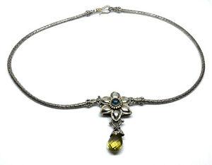 Barbara Bixby Sterling Silver & 18kt Gold Blue Topaz Peridot Enhancer Necklace