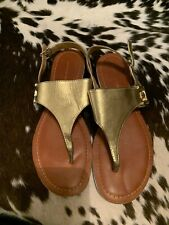 Tommy Hilfiger Sandals Size 10 Leather Gold Flat Thong Shoe