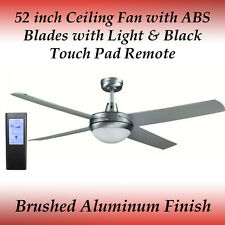 Genesis 52inch Silver Ceiling Fan with ABS Blades and Light + Black Touch Remote