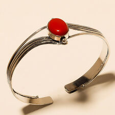 BEAUTIFUL CORAL 925 STERLING SILVER PLATED GEMSTONE BRACELET CUFF JEWELLERY