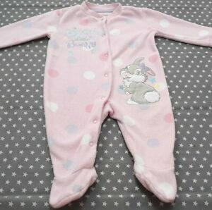 Baby Girls Fleece Disney Bambi Thumper Babygrow 3-6 Months Sleepsuit Babygro