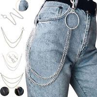 1-3 Layer Rock Punk  Jeans Waist Chain Biker Silver Round  Chain for Women Men