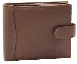 Mens RFID Real Leather Wallet With Zip Pocket Coin Pouch & ID Window 304 Brown