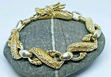 Dragon Serpent Twisted Stainless Steel Bracelet Chain Silver & Gold Tone 8""