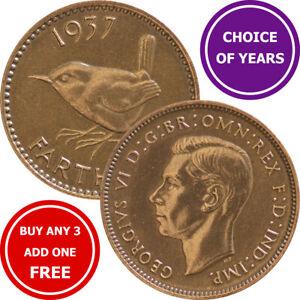 Farthing : 1937-1952 : George VI : Wren ¼d Coin : Choose Year