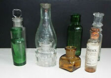Fabulous collection 8 vintage/antique mini glass bottles, mixed shape + colour