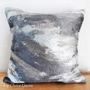 45 x 45cm Home Decorative White/Silver/Grey Abstract Cushion Cover