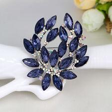 Fashion Women Ink Blue Crystal Elegant AB Rhinestone Flower Wedding Brooch Pin