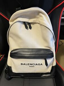 Balenciaga Black Leather and Canvas Backpack