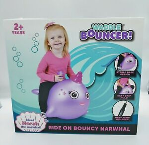 Waddle Bouncer Narwhal Ride on inflatable with pump purple. New.