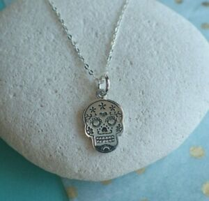 Sterling Silver Day of the Dead Skull Pendant - Uk Seller