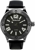 Mens Watch Montres Carlo MC37901 Black Faux Leather Band Water Resistant