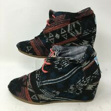 Toms 300813 Womens Ankle Booties Wedge Aztec Navajo Lace Up Multicolor 9.5M