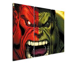130x90cm - Red_Hulk_vs_Green_Hulk Wandbild Panorama Leinwand Sinus Art