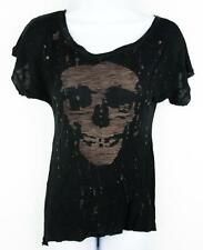 United Rockers Black Skull Rhinestone Hi-Lo Top Shirt Goth Punk Psychobilly XS/S