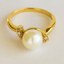 PEARL RING 8.4mm CULTURED PEARL GENUINE DIAMONDS REAL 9K 375 GOLD SIZE N1/2 NEW