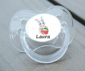 PERSONALISED DUMMY PACIFIER SOOTHER, ALL TEATS,SIZES & COLOURS, EASTER BUNNY 3