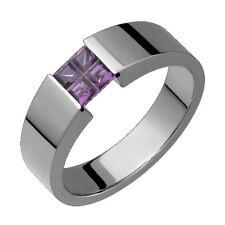 Titanium Ring Purple Amethyst Tension Set Wedding Band 5mm Wide Polish Finish
