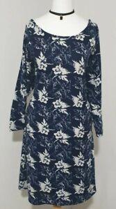 Ladies Dress Long Sleeved Belt Thin Knit Blue/White ROMAN ORIGINALS Women's UK16