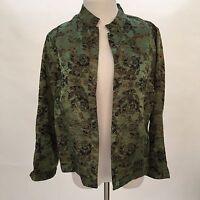 Chicos Sz 1 Lt Jacket Top Green Brown Floral Mandarin Collar Snap Up Silk Blend