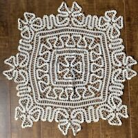 "Vintage Hand Made Crochet Lace Doily Table Topper 22"" Square Cream"