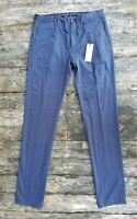 New $225 ZANELLA slim fit [33] NOAH blue cotton chino pants made in Italy RECENT