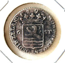 1792 Netherlands 6 stuivers silver old coin (high-grade) # 205