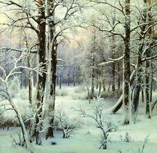 Beautiful huge Oil painting I. Velts - forest winter snow dusk landscape canvas