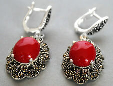 Vintage 925 Sterling Silver Red Coral Gemstone Marcasite Dangle Hook Earrings