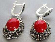 Vintage 925 Sterling Silver Red Coral Gemstone Marcasite Dangle Hook Earrings
