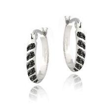 Black Diamond Accent 20mm Striped Oval Hoop Earrings