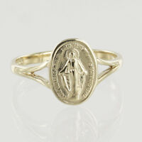 Hallmarked 9ct Yellow Gold Miraculous Medal Ring
