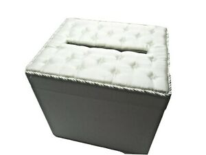 Darice VL8132722F Wedding Satin Card Box with Crystal Flip Top Opening White