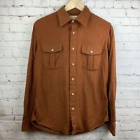 Vintage Sears Fieldmaster Sportswear Flannel Hunting Shirt Mens Medium Brown W5