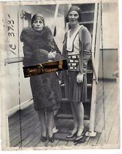 Rare 1929 Press Photo Mrs. Walter Chrysler & Daughter SS France Ship car auto co
