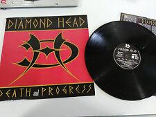 """DIAMOND HEAD DEATH AND PROGRESS LP VINYL VINYL 12"""" EU EDIT 1993 VG/VG - AG"""
