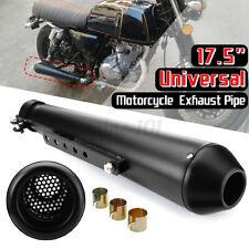 17,5″ Motorrad Auspuff Auspuffanlage Endtopf 44.5mm + Halterung Metall Schwarz
