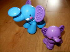 FISHER PRICE ~ Amazing Animals ~ Rare MUMMY & BABY ELEPHANT Purple Baby & Ears