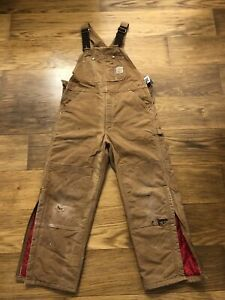 USA Carhartt R02 BRN Duck Quilted Lined Bib Overalls 36x28 distressed