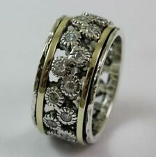 OR PAZ 925 Sterling Silver & 14K Gold Spinner CZ Ring, Size 7, Made in Israel