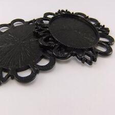 03179 Vintage Black Tone Alloy Fancy Lace Cameo Setting 40*30 Pendant Charm 4pc