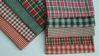 Primitive Green Red Plaid Christmas Rag Quilt Doll Cotton Homespun Fabric Scraps