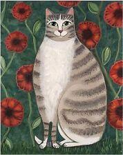Tabby Cat Folk Art Print-whimsical CATS ART-Artist sgd Wendy Presseisen POPPYCAT