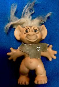 Vintage 1960s Uneeda Wishnik Troll Doll Caveman Rubber Pre-owned