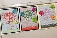 Handmade Thank You Card Greeting Card Lot Set Of 3 Teacher Birthday Baby Shower