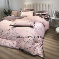 Luxury Egypt Cotton Bedding Set Embroidery Silky Duvet Cover Bed Sheet 4/6/7Pcs