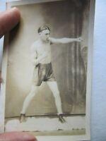 SUPER, RARE Antique Photograph of BOXER IN ACTION, Actual Photo Postcard, GIFT